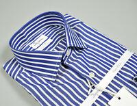 Camicia Ingram Slim Fit in Cotone Ritorto Collo mezzo Francese Azzurra a Righe