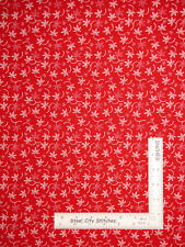 White on True Red Double Flower Stems Cotton Fabric 49105-R Santee By The Yard