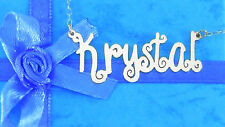 PERSONALIZED STERLING SILVER CURLY STYLE ANY NAME PLATE NECKLACE  ** US SELLER