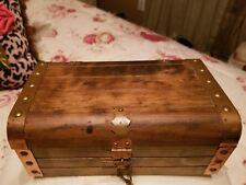 Vintage Antique Oak  Wood Hinged Trinket Jewelry Box 1940s