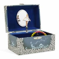 JewelKeeper Girls Musical Jewellery Storage Box with Twirling Fairy Blue and Wh