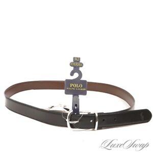 NWT Polo Ralph Lauren Black Brown Reversible Matte Leather Silver Buckle Belt 42