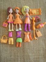 "Polly Pocket ""Colors of the Rainbow"" Orange Lot Big Feet Dolls Modern Pet 4-32"