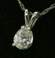 EGL USA certified 14K WG .57CTW VS2/D Pear diamond solitaire pendant necklace