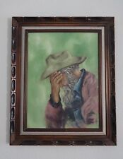 Cindy Yandell MAN OIL PAINTING on Canvas 18x24 w/ VTG Wooden Mexican FRAME 32x36