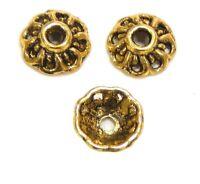40 Filigrane Perlkappen Perlenkappen 10mm Gold Metall Spacer Zwischenteile M470