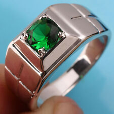 Men Sterling Silver Ring Cross Carve Size 13 with Emerald Green Stone for Father