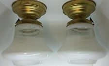 Vintage Ceiling Lamp Light Retro Mid Century Atomic Ribbed Glass Bell Pair