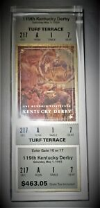 1993 KENTUCKY DERBY LIMITED EDITION ACRYLIC ADMISSION TICKET PAPERWEIGHT