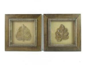 Set of 2 Natural Inspirations Home Decor Framed 3D Leaf Wall Art Wood Michaels