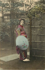 Hand Tinted Postcard Japanese Woman in Beautiful Kimono and Parasol Geisha