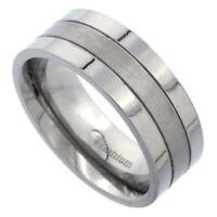 Men's Comfort Fit Titanium Size 10 Wedding Band 8mm Matte Groove Design C33