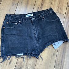 Vintage Canyon River Blues Black High Waisted Cut off Festival Shorts 31W
