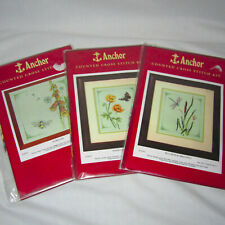 Lot of 3 Anchor Counted Cross Stitch Kits Floral - Poppies Dragonfly Bumble Bee