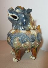 antique handmade terracotta pottery Chinese foo dog lion incense burner statue