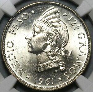 1961 NGC MS 65 Dominican Republic Medio 1/2 Peso Coin GEM BU (20101801C)