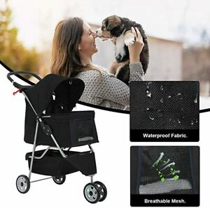 Dog Stroller Pet Cat Stroller for Medium Small Dogs Foldable Travel3 Watherproof