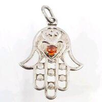 Fine Sterling Silver HAMSA Judaica Protection from Evil Eye Pendant for Necklace