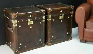 Bespoke Handmade Leather Occasional Side Table Trunks Great Item ZA06