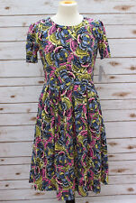 Large LuLaRoe Amelia Dress Floral Cabbage Roses Cream Blue Periwinkle Green NWT