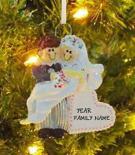 Wedding Couple Bride & Groom Just Married 1st Personalized Christmas Ornament