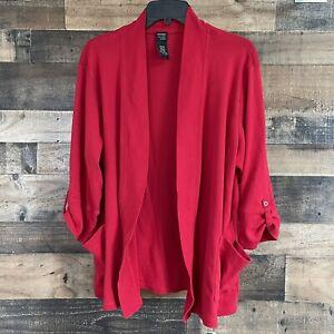 Rafaella Studio Woman Plus Size 2X Red Open Front Cardigan Sweater Blazer