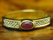 14kt 585 Oro Giallo Anello con Diamante & 0,50ct Rubino Ricoperto / 1,5g / Rg 57