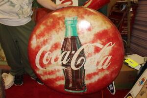 "Large Vintage 1953 Coca Cola Soda Pop Gas Oil 36"" Metal Button Sign"