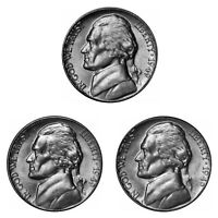 1949 P D S Jefferson Nickel Year set Choice / Gem BU US 3 Coin lot