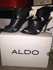 Aldo Kaoellan Shoes Black Leather Sling Back Open Toe 7.5