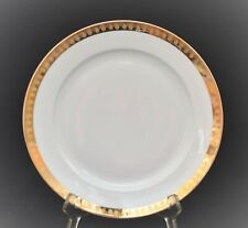 VINTAGE HUTSCHENREUTHER GERMANY DINNER PLATE WHITE GOLD GILT