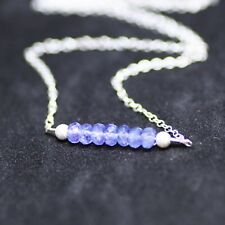 Delicate Natural Tanzanite Bar Necklace Sterling Silver December Birthstone