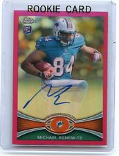 """2012 TOPPS CHROME #2 MICHAEL EGNEW """"PINK REFRACTOR"""" AUTOGRAPH RC #62/75 DOLPHINS"""