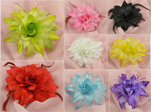 """5.5"""" OR 6"""" LARGE SILK LOOK LILY LEAFED ROSE FLOWER WITH BROOCH PIN AND HAIRCLIP"""