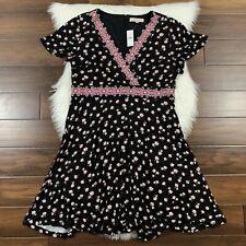 Ann Taylor Loft Women's Size 16 Black Floral Empire Dress