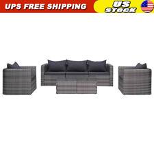 6 Piece Outdoor Patio Furniture Set Rattan Poly Patio Sectional Patio Sofa Gray