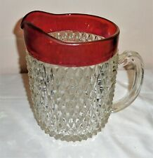 """Vintage Indiana Glass Diamond Point Ruby Red Flashed Pitcher 8.5""""T see all photo"""