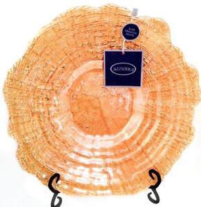 "Azzurra Turkey Glass Bowl Tree Ring Handmade 13"" Scalloped 100% Silver Back Gold"