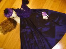 Day of the Dead dark purple dress sz 3/ 4 woman's costume hat Dia los Muertos