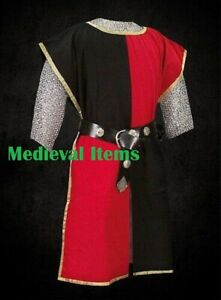 Medieval Knight Two Colored Tabard Sleeveless Tunic Renaissance Larp Black & Red