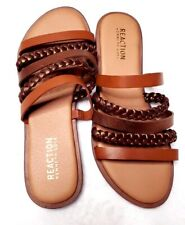 Kenneth Cole Reaction Women's Strappy Brown and Gold Flat Sandal Size 6
