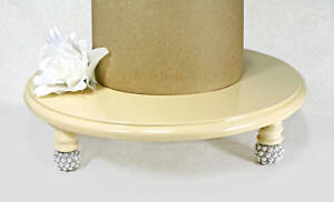 Ivory, Silver, Pearl Round Wedding Cake Stand, Cupcake Stand Display, Cottage...