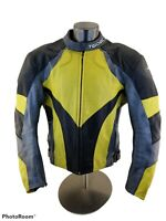 TEKNIC PERFORATED LEATHER MOTORCYCLE RACING JACKET BLACK/YELLOW MEN'S SIZE 48