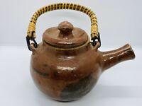 Vintage Japanese Choshi Sake Warmer Ceramic Earthenware Pot w/ Handle & Lid