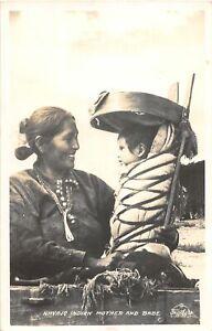 H96/ Native American Indian RPPC Postcard c1910 Navajo Mother Baby 53