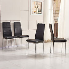 4x Black Modern High Back Faux Leather Foam Dining Chairs Chrome Legs Diningroom