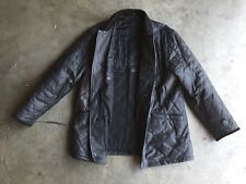Enrico Mandelli Quilted Leather Jacket sz 46 XL Black Made in Italy