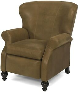 LEATHER RECLINER CHAIR  ANTIQUE STYLE  WOOD CARVED SCROLL ARMS  USA CRAF