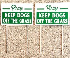 New listing 2 signs Please Keep Dogs Off The Grass 12� X 8� with 2 steel stands green/white