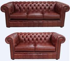 Chesterfield 3 Seater + 2 Seater Suite Old English Chestnut Aniline Sofa Settee